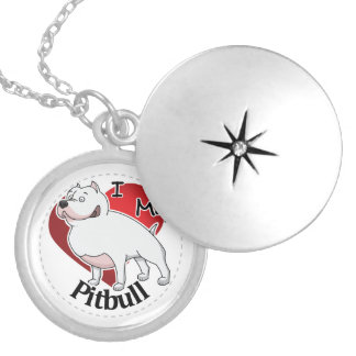 I Love My Happy Adorable Funny & Cute Pitbull Dog Silver Plated Necklace