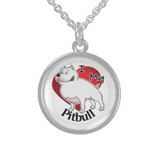 I Love My Happy Adorable Funny & Cute Pitbull Dog Sterling Silver Necklace