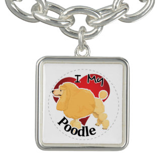 I Love My Happy Adorable Funny & Cute Poodle Dog Charm Bracelets