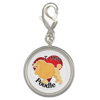I Love My Happy Adorable Funny & Cute Poodle Dog Photo Charm