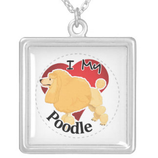 I Love My Happy Adorable Funny & Cute Poodle Dog Silver Plated Necklace