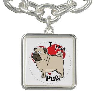 I Love My Happy Adorable Funny & Cute Pug Dog Bracelet