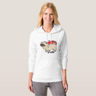 I Love My Happy Adorable Funny & Cute Pug Dog Hoodie