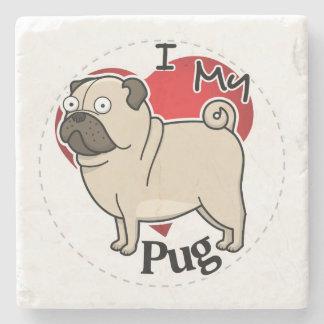 I Love My Happy Adorable Funny & Cute Pug Dog Stone Coaster