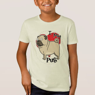 I Love My Happy Adorable Funny & Cute Pug Dog T-Shirt