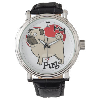 I Love My Happy Adorable Funny & Cute Pug Dog Watch