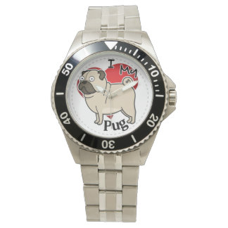 I Love My Happy Adorable Funny & Cute Pug Dog Watches