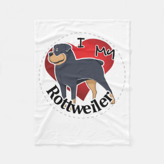 I Love My Happy Adorable Funny & Cute Rottweiler Fleece Blanket