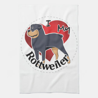 I Love My Happy Adorable Funny & Cute Rottweiler Kitchen Towel