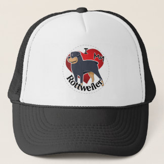 I Love My Happy Adorable Funny & Cute Rottweiler Trucker Hat