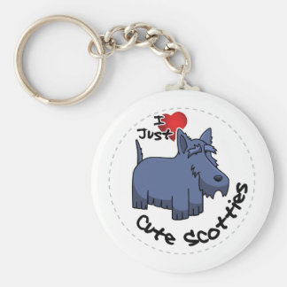 I Love My Happy Adorable Funny & Cute Scottie Dog Basic Round Button Keychain