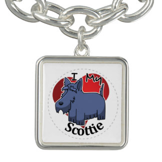 I Love My Happy Adorable Funny & Cute Scottie Dog Bracelet