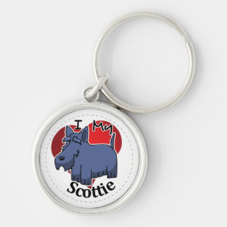 I Love My Happy Adorable Funny & Cute Scottie Dog Silver-Colored Round Keychain