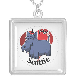 I Love My Happy Adorable Funny & Cute Scottie Dog Silver Plated Necklace
