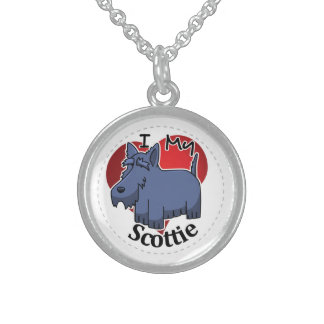 I Love My Happy Adorable Funny & Cute Scottie Dog Sterling Silver Necklace