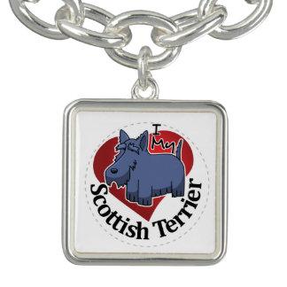 I Love My Happy Adorable Funny & Cute Scottish Ter Charm Bracelet