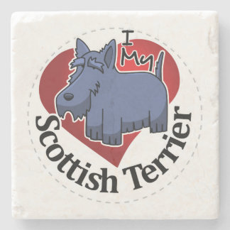 I Love My Happy Adorable Funny & Cute Scottish Ter Stone Coaster