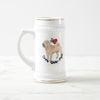 I Love My Happy Adorable Funny & Cute Shar Pei Dog Beer Stein