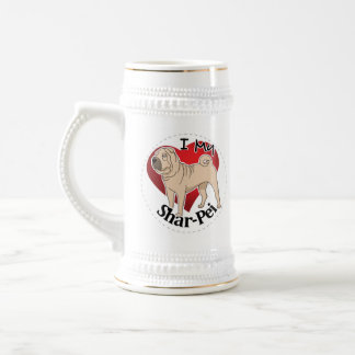 I Love My Happy Adorable Funny & Cute Shar-Pei Dog Beer Stein