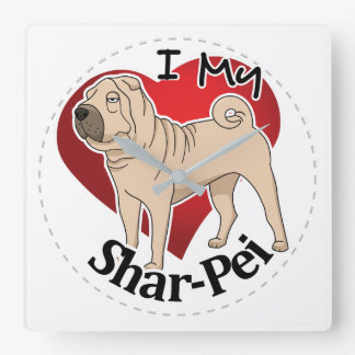 I Love My Happy Adorable Funny & Cute Shar-Pei Dog Wall Clocks