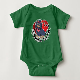 I Love My Happy Adorable Funny & Cute Yorkie Dog Baby Bodysuit