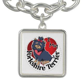 I Love My Happy Adorable Funny & Cute Yorkie Dog Charm Bracelet