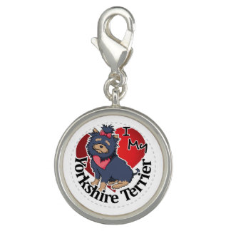 I Love My Happy Adorable Funny & Cute Yorkie Dog Charms