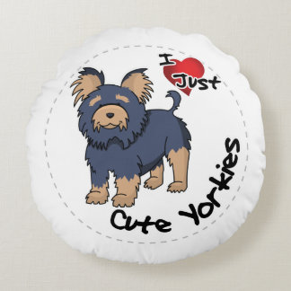I Love My Happy Adorable Funny & Cute Yorkie Dog Round Pillow