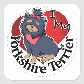 I Love My Happy Adorable Funny & Cute Yorkie Dog Square Sticker