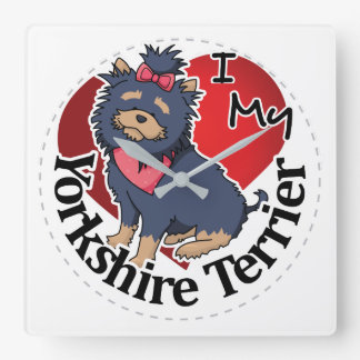I Love My Happy Adorable Funny & Cute Yorkie Dog Square Wall Clock