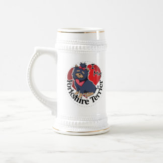 I Love My Happy Adorable Funny & Cute Yorkshire Te Beer Stein