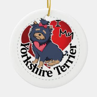 I Love My Happy Adorable Funny & Cute Yorkshire Te Ceramic Ornament
