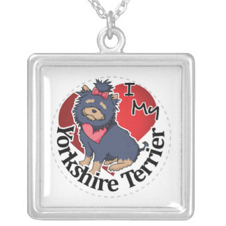 I Love My Happy Adorable Funny & Cute Yorkshire Te Silver Plated Necklace
