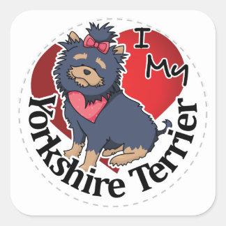 I Love My Happy Adorable Funny & Cute Yorkshire Te Square Sticker