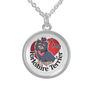 I Love My Happy Adorable Funny & Cute Yorkshire Te Sterling Silver Necklace