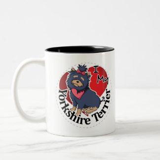 I Love My Happy Adorable Funny & Cute Yorkshire Te Two-Tone Coffee Mug