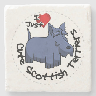 I Love My Happy Funny & Cute Scottish Terrier Stone Coaster