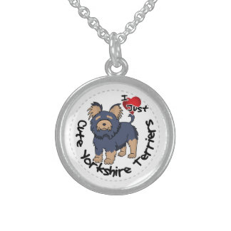 I Love My Happy Funny & Cute Yorkshire Terrier Sterling Silver Necklace