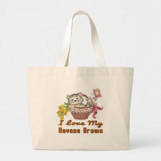 I Love My Havana Brown Large Tote Bag