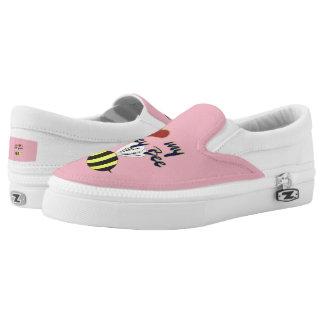 I Love my Honey Bee Zipz Slip On Shoes  US-Women