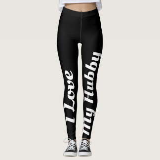 I Love My Hubby Black White Newly Married Cute Leggings