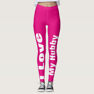 I Love My Hubby Pink White Cute Girly Chic Leggings