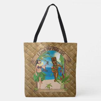 I Love My Hula Girl Tiki Lauhala Print Tote Bag