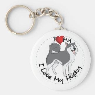 I Love My Husky Dog Basic Round Button Keychain
