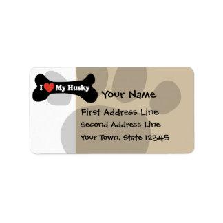 I Love My Husky  - Dog Bone Label