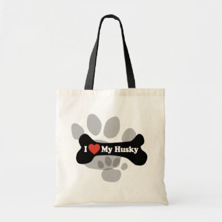 I Love My Husky  - Dog Bone Tote Bag