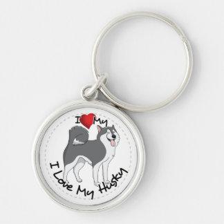 I Love My Husky Dog Silver-Colored Round Keychain