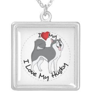 I Love My Husky Dog Silver Plated Necklace