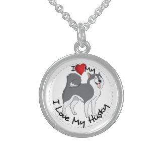 I Love My Husky Dog Sterling Silver Necklace