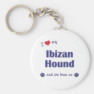 I Love My Ibizan Hound (Female Dog) Basic Round Button Keychain